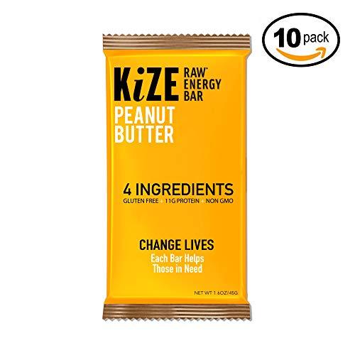 KiZE – (10 Pack) Raw Energy Bars – Peanut Butter – Non GMO, Gluten Free, No Added Sugar, Bulletproof