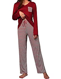 Women s Summer Pajama Set Striped Sleepwear Plus Size Pjs Sets 5287e11f8