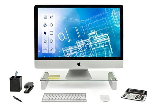 Mount-It! Glass Computer Monitor Riser and Laptop Stand | Clear Flat Screen Display Stand, Desktop Shelf and Organizer…