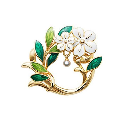 - Enameled Flower Brooches Brooch Pin Badge Emblem Corsage Colorful Plant Leaves Women's Jewelry with Simulated Pearl Charm