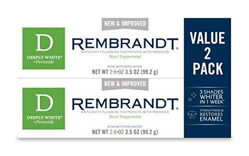 Peppermint Whitening Toothpaste - Rembrandt Deeply White + Peroxide Whitening Toothpaste, Peppermint Flavor, 3.5-Ounce (2 Pack)