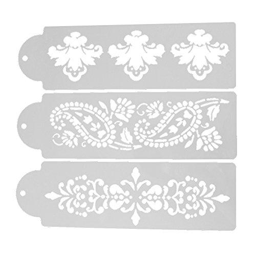 Whitelotous Plastic Cake Cookie Fondant Side Baking Stencil Wedding Decor Mold Tool (Type A)