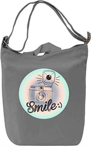 Smile Borsa Giornaliera Canvas Canvas Day Bag| 100% Premium Cotton Canvas| DTG Printing|