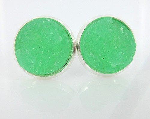 Silver-tone Mint Green Faux Druzy Stone Stud Earrings 12mm