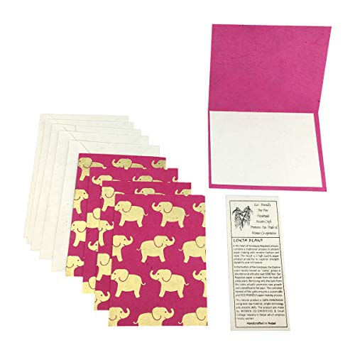 - Nepal Greeting Card and Envelope Set: Elephant, Eco-friendly Handmade Lokta Paper