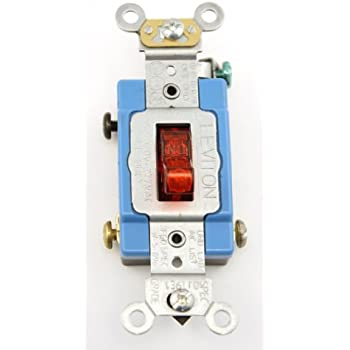 leviton 1221 plr 20 amp 120 volt toggle pilot light illuminated leviton 1201 plr 15 amp 120 volt toggle pilot light illuminated on req neutral single pole ac quiet switch industrial grade self grounding red