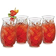 Libbey 4 Piece Modern Bar Tiki Pineapple Glass Set, Clear