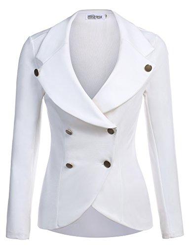 Meaneor Women's Cotton Long Sleeve Slim Short Blazer Suit Jacket Plus Size (Women Plus Size White Suits)