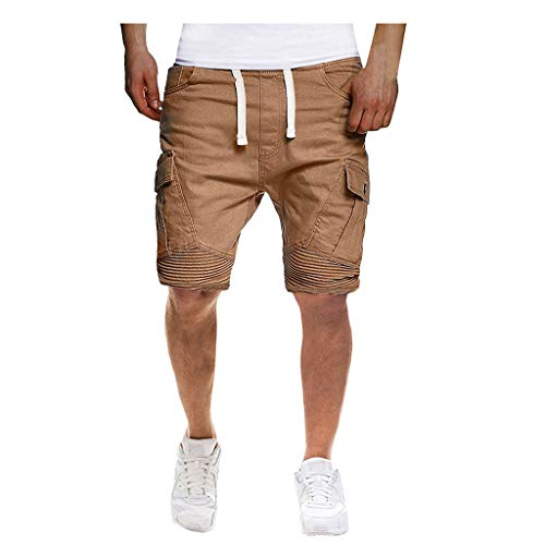 Men's Sport Pure Color Bandage Casual Loose Sweatpants Drawstring Shorts Pant, MmNote Khaki