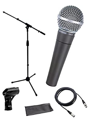 Shure SM58-LC Cardioid Dynamic Vocal Microphone Bundle with Boom Stand and XLR Cable by Shure