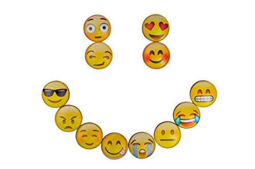 Emoji Magnets By Nappi Store: Set Of 12 Decorative Refrigerator Magnets With Emoticons Faces – Round 3D Fridge Magnets For Message Whiteboards And Cabinets – Funny Home And Office - On 3d Sunglasses Try