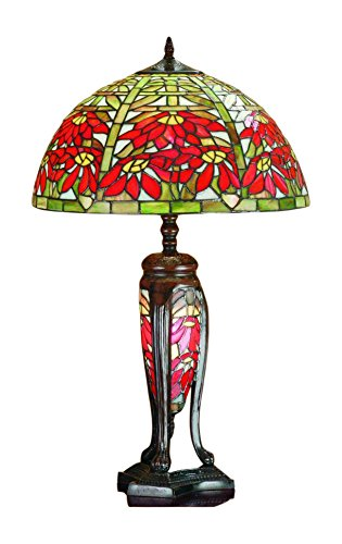 Meyda Tiffany 65896 Poinsettia Lighted Base Table Lamp 25 5 Height