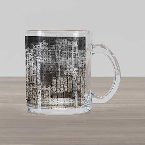 - Lunarable New York Glass Mug, High Buildings of Metropolitan Life Skyscrapers and Twin Towers, Printed Clear Glass Coffee Mug Cup for Beverages Water Tea Drinks, Charcoal Grey White and Grey
