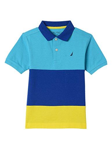 Nautica Boys' Short Sleeve Colorblock Deck Polo Shirt, Spinnaker Casper Blue, Medium (10/12)