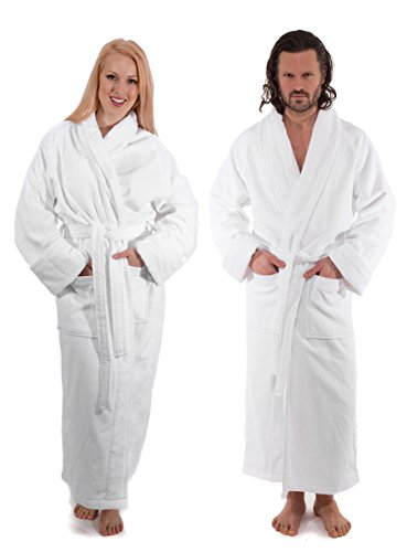 (Luxury Silky Soft 100% Combed Cotton Bathrobe - Grand Velour Hotel Robe, White, (One Size Fits All))