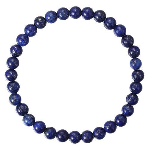 BRCbeads Gemstone Bracelets Natural Blue Lapis Genuine Gemstones Birthstone Handmade Healing Power Crystal Beads Elastic Stretch 6mm 7.5 Inch with Gift Box Unisex