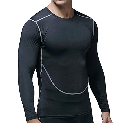DaySeventh Men's Long Sleeved Sports Running Fitness Sweat Breathable Fast Dry Sports Tight -