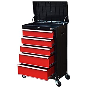 """TB3205X-BR Excel 22"""" Roller Tool Cabinet with 5 Ball Bearing Drawers, 22in, Black&Red"""