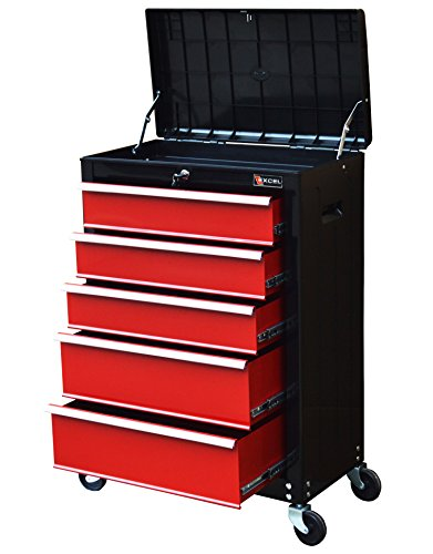 "TB3205X-BR Excel 22"" Roller Tool Cabinet with 5 Ball Bearing Drawers, 22in, Black&Red"