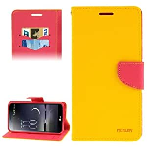 Cross Texture Leather Case with Credit Card Slots & Holder for LG G Flex / F340L / F340S (Yellow)