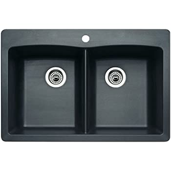 Blanco 511 602 Diamond Equal Double Bowl Kitchen Sink, Anthracite Finish