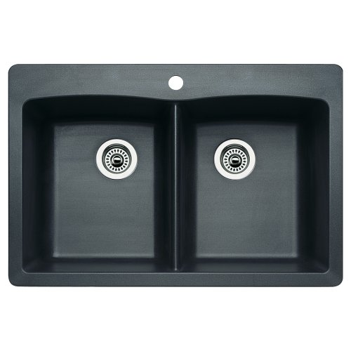 Diamond Silgranit Anthracite Double Bowl (Blanco 511-602 Diamond Equal Double Bowl Kitchen Sink, Anthracite)