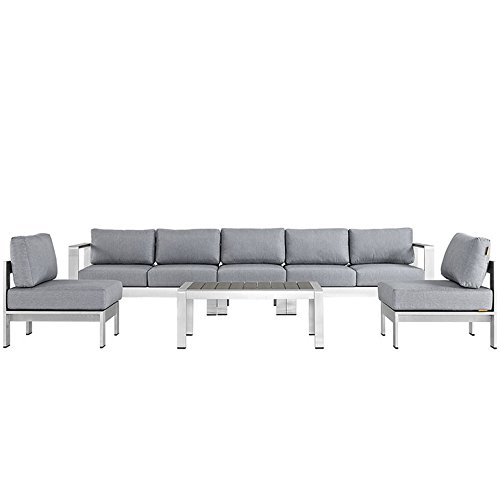 Modway Shore 6 Piece Outdoor Patio Aluminum Sectional Sofa Set, Silver Gray - 6 Piece Seating