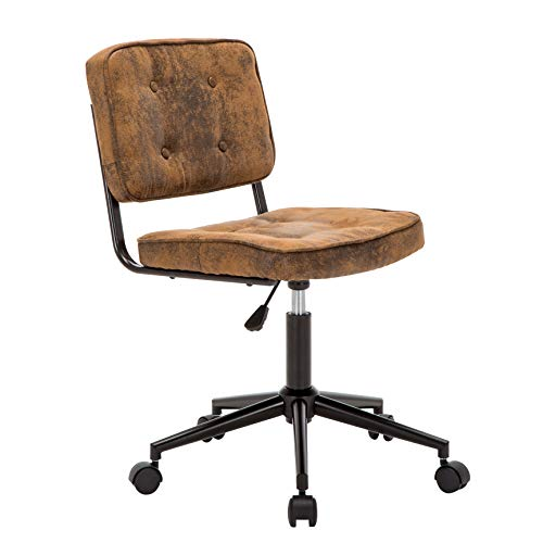 Porthos Home Office Chair with Stylish Suede Upholstery, Versatile Adjustable Height and Durable Roller Castor Wheels