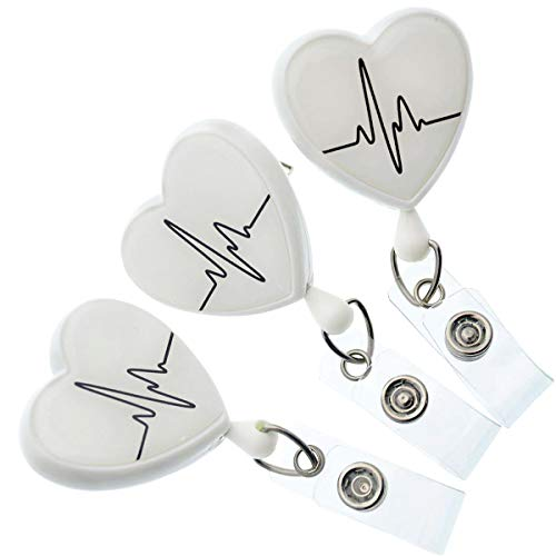 Specialist ID - 3 Pack of Heart Shaped EKG Cardiac Badge Reels with Alligator Swivel Clip on Back - Premium Retractable Badge Lanyard Badge Holders for Nurses and More (White)
