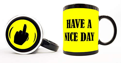 Have A Nice Day Coffee Mug, Funny Cup With Middle Finger On The Bottom,Funny Unique Christmas Gift Cute Cool Ceramic Cup, Best Fathers Day And Mothers Day Gag Gifts 11 Oz 100% Ceramic Yellow Mug