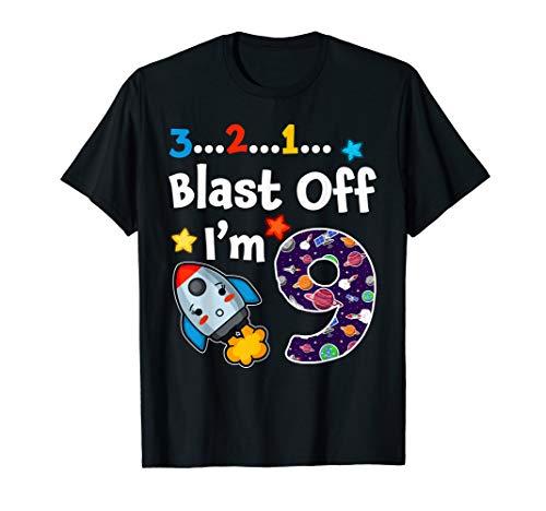3 2 1 Blast Off I'm 9 Outer Space 2010 9th Birthday Tshirt (Blast T-shirt Off)