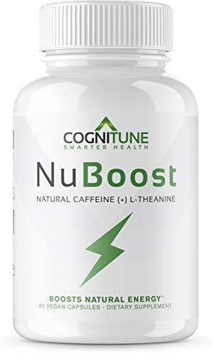 NuBoost – All Natural Caffeine Pills with L-Theanine BioPerine – Premium Sustained Energy Focus Supplement – 1 Nootropic Brain Booster for Smooth Instant Energy – No Crash, No Jitters