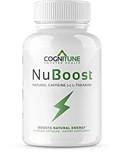 NuBoost - Premium Sustained Energy Supplement - All Natural Caffeine Pills with L-Theanine + BioPerine - Smooth Instant Energy & Focus - No Crash, No Jitters - Weight Loss & Brain Booster