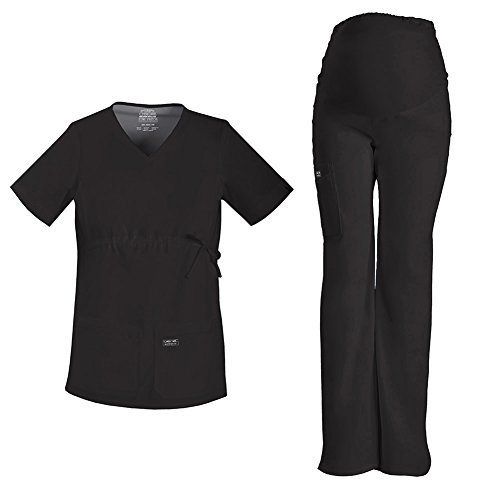 Cherokee Workwear Maternity V-Neck Top 4708 & Core Stretch Maternity Pull On Pant 4208 Scrub Set (Black - X-Large)