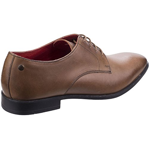 Base London Mens Shilling Waxy Leather Chiselled Tip Derby Style Shoes Tan