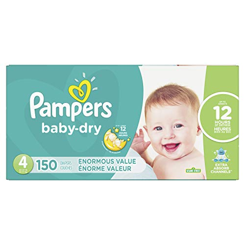 Diapers Size 4, 150 Count – Pampers Baby Dry Disposable Baby Diapers, Enormous Pack (Packaging May Vary)