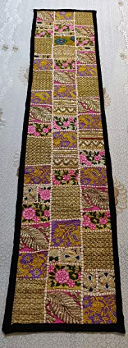 Fair Deal Rajasthani Handmade Cotton Table Runner Embroidery Patchwork Runner Tapestries Beaded Wall Hanging ()