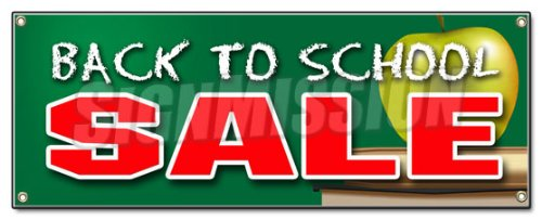 BACK TO SCHOOL SALE BANNER SIGN boys girls clothes save sale discount fall -