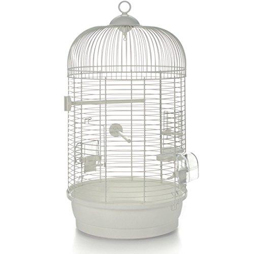 Cage à oiseaux rond avec tiges horizontal 'Julia' blanc vR
