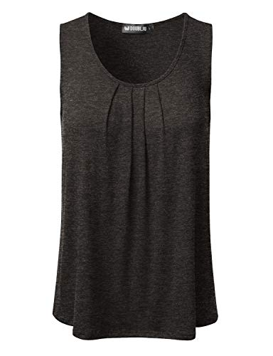 DRESSIS Women's Basic Soft Pleated Scoop Neck Sleeveless Loose Fit Tank Top CHARCOAL 3XL