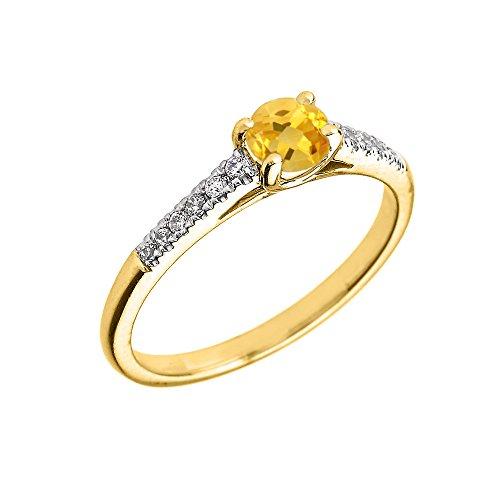 Bague Femme/ Bague De Fiançailles 10 Ct Or Jaune Diamant Et Citrine
