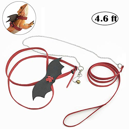 ChungGorGor Lizard Leash Bearded Dragon Harness - Adjustable Reptile Lead Leash with Cool Leather Wings, Comfort Leather, Safety Outdoor Walking Leash for BD, Bearded Dragon, IG, Iguana, Gecko, Red ()