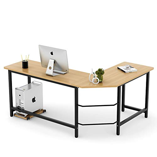 Tribesigns Modern L-Shaped Desk Corner Computer Desk PC Laptop Study Table Workstation Home Office, Wood & Metal (Walnut + Black Leg)
