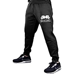 Men's Boxing Gloves V434 Black Fleece Gym Jogger Sweatpants Small Black
