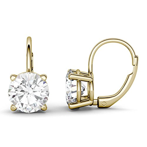 (14K Yellow Gold Moissanite by Charles & Colvard 7.5mm Round Drop Earrings, 3.00cttw DEW)