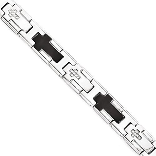 Solid Stainless Steel Polished Black Ip-Plated With Cz Cross Bracelet