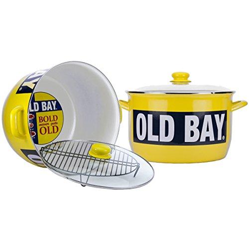 Enamelware - Old Bay Pattern - 18 quart Stock Pot with Rack (Enamelware Stock Pot)