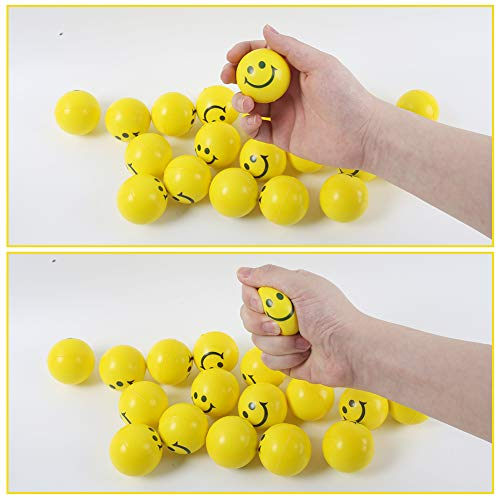 LovesTown 40 Pcs Smiley Face Squeeze Balls,2inch Face Stress Balls Yellow Smile Squeeze Balls Mini Stress Relief Balls for Finger Exercise School Carnival Reward Party Bag Gift
