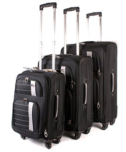 Negro Aero Conjunto de 1000Series–Juego de 3maletas–Maleta con 4ruedas de viaje