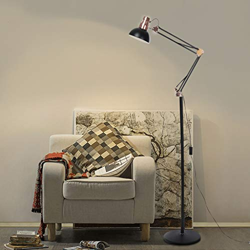 12W Dimmable Remote Control & Touch Sensor Switch LED Floor Lamp - Modern Simplicity Style - Stepless Dimming - Fully Adjustable Long Gooseneck - for Sofa/Desk Reading, Living Room, Bedroom